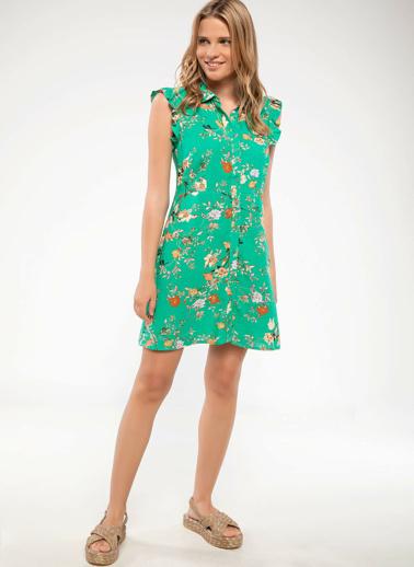 DeFacto Çiçek Desenli Kolsuz Elbise Yeşil